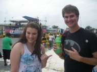Tyler & visiting fiancee Corisa at celebration in Emancipation Park. Note bottle of Ting, Tyler's favourite pop.