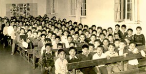 First Nations children in residential school 55 years ago.